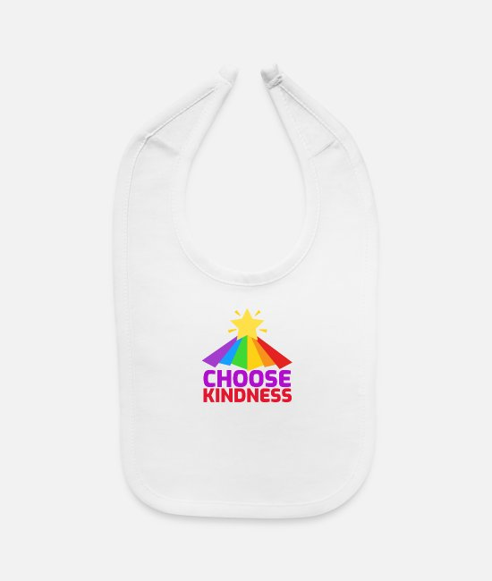 Smile Baby Clothing - Choose Kindness Star Colorful Rainbow - Baby Bib white