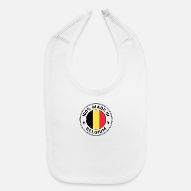 Stamp Belgium Belgian flag banner Made in Belgium - Baby Bib