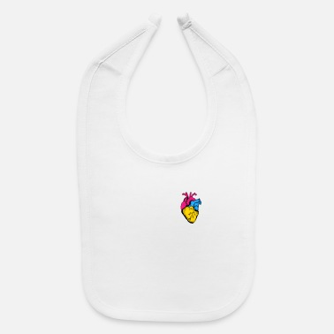 Community Pan Pride LGBTQ Retro Pansexual Heart - Baby Bib