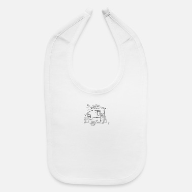 Drawing Caravan Travel - One Line Drawing - Baby Bib