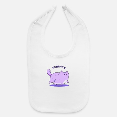 Fine purrplePurrrr-ple Cute Fat Kitty Cat Pun - Baby Bib