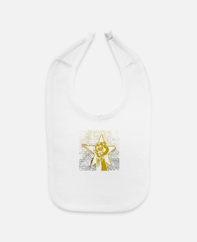 Gold Baby Bibs - Graffiti fist with star in gold black - gift idea - Baby Bib white
