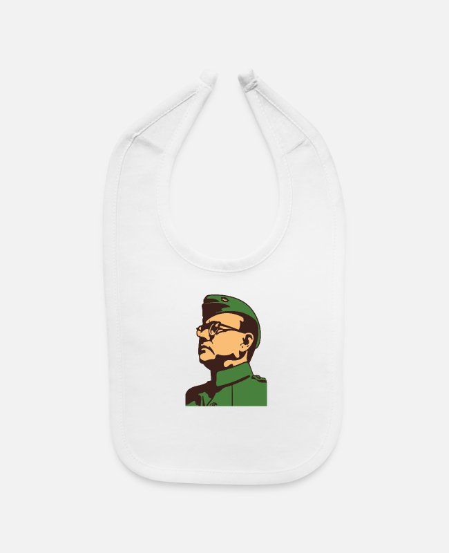 Bose Baby Bibs - Nethaji Vintage Indian Freedom Fighter Leader - Baby Bib white