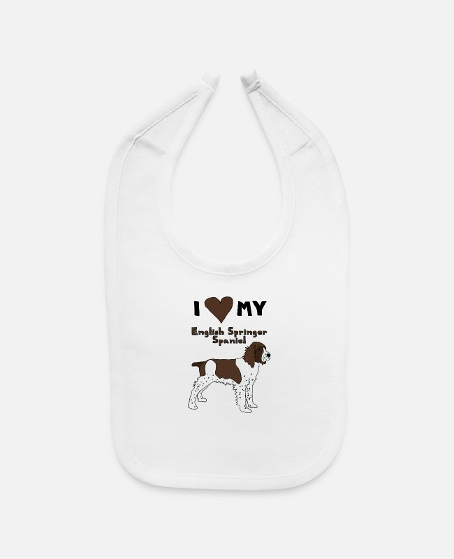 Heart Baby Bibs - i heart my english springer spaniel - Baby Bib white