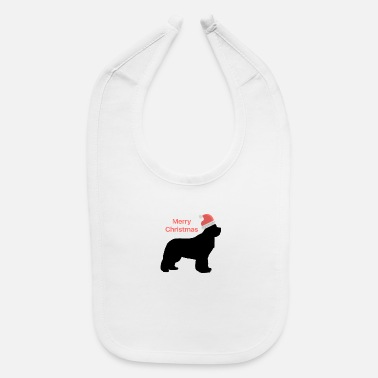 Christmas Design Newfie with Santa Hat - Baby Bib
