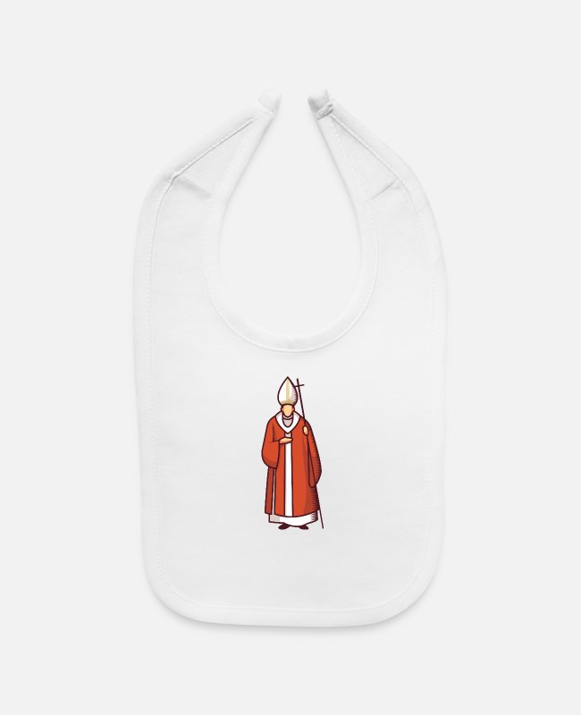 Red Baby Bibs - The Cardinal Is Wearing His Mitre and Red and Whit - Baby Bib white