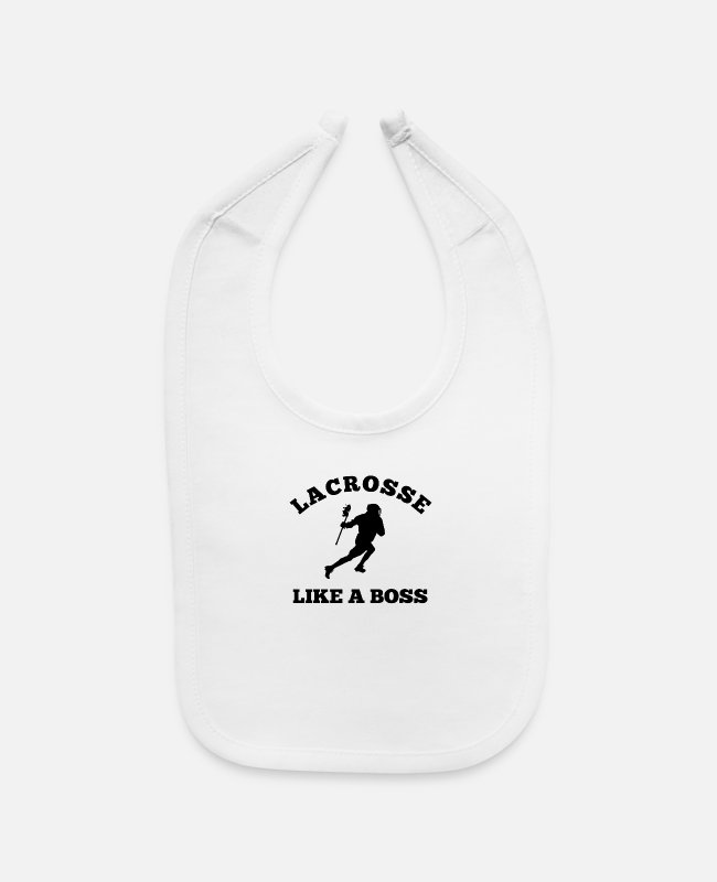 Quote Baby Bibs - Lacrosse Like A Boss Quote Team Sport Player Game - Baby Bib white