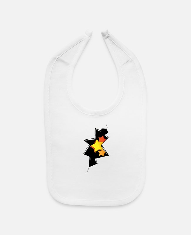 Drawing Baby Bibs - Graffiti of stars and cracked wall - Baby Bib white