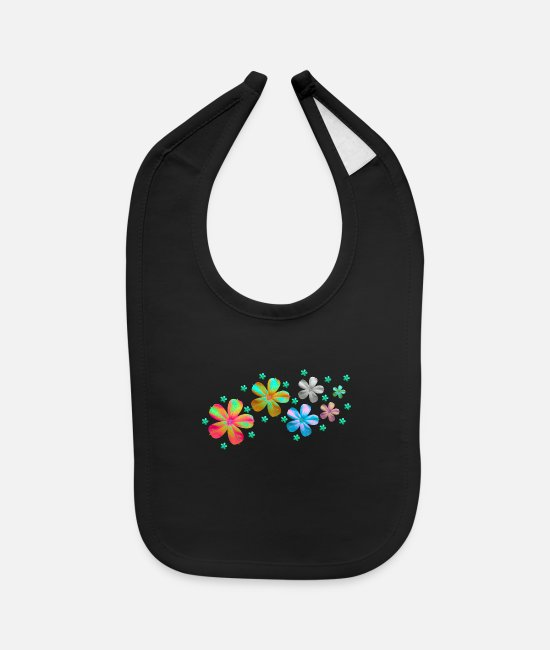 Flowers Baby Clothing - flowers meadow - Baby Bib black
