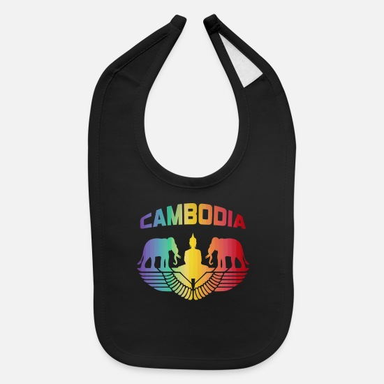 Thailand Baby Clothing - Cambodia Elephants with Buddha / Gift - Baby Bib black