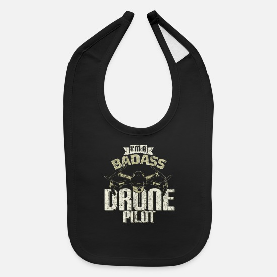 Drone Baby Clothing - Drone Sayings - Baby Bib black