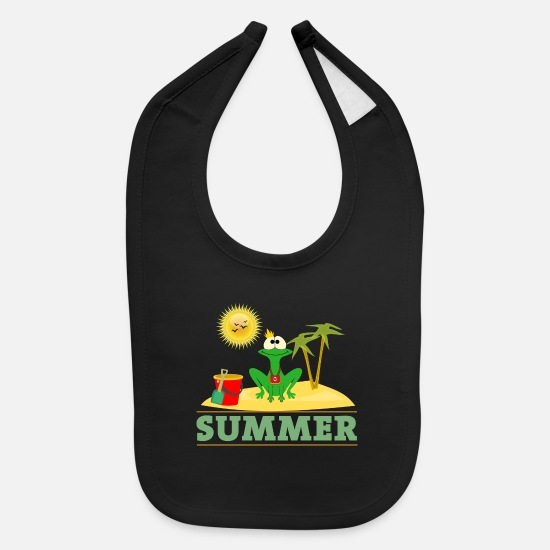 Beachparty Baby Clothing - Frog Summer - Baby Bib black