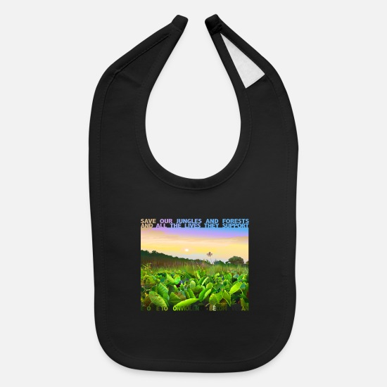 Digital Baby Clothing - SAVE OUR JUNGLES AND FORESTS SIGNED DIGITAL ART - Baby Bib black