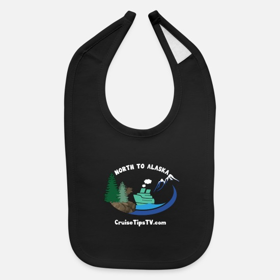 Cruise Baby Clothing - North to Alaska - White Font & Brown Moose - Baby Bib black