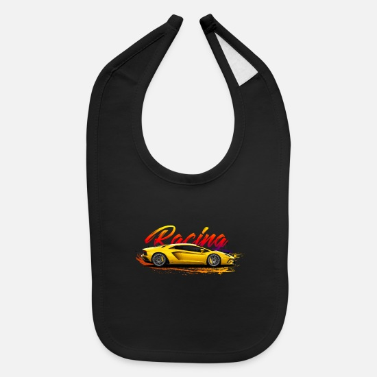 Car Baby Clothing - Racing Car - Baby Bib black