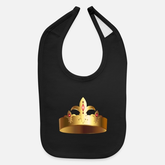 Jewel Baby Clothing - Royal golden crown king VIP monarch vector image - Baby Bib black