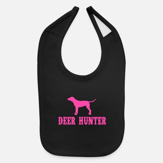Stag Baby Clothing - Deer Hunter Pink - Baby Bib black
