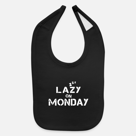 Coffee Bean Baby Clothing - lazy on monday - Baby Bib black