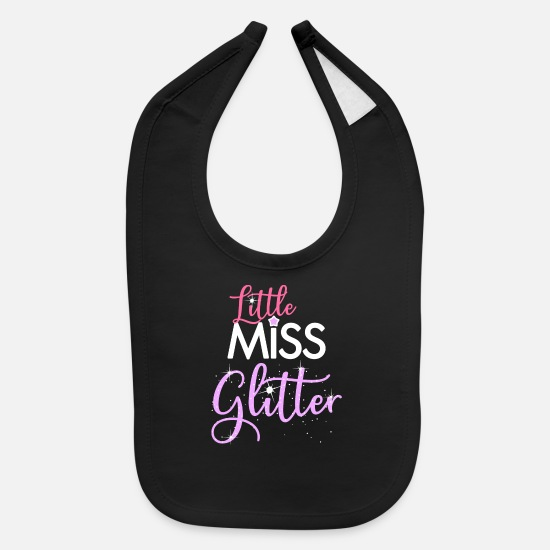 Pink Baby Clothing - Little Miss Glitter Fun Quote - Baby Bib black