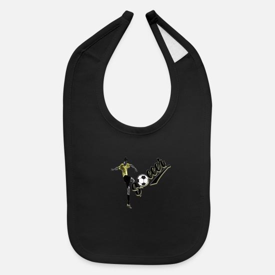 Ball Baby Clothing - Soccer Yellow Volley - Baby Bib black