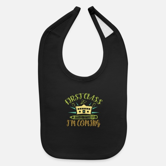 Kindergarten Baby Clothing - First Class Uneducation First Grader Gift - Baby Bib black