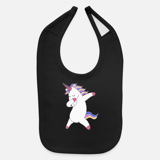 Pop Culture Baby Clothing - Funny cool dab unicorn - Baby Bib black
