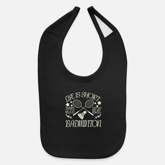 Gift Idea Baby Clothing - Badminton - Baby Bib black