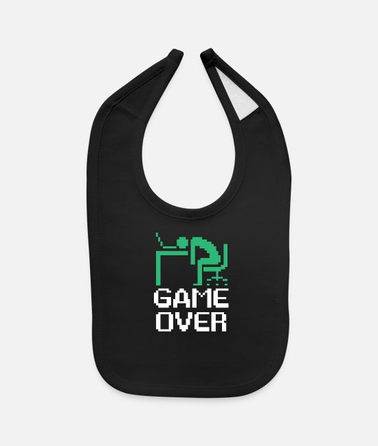 Video Game Baby Bibs - Over worked game over dead - Baby Bib black