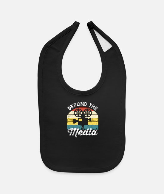 Vote Baby Bibs - Defund The Media Fake News Election Political Prot - Baby Bib black