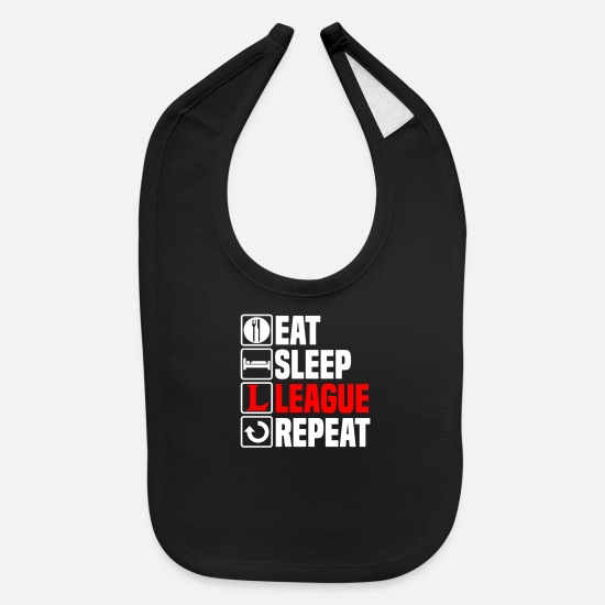 League Of Legends Baby Clothing - Eat Sleep League of Legends - Baby Bib black