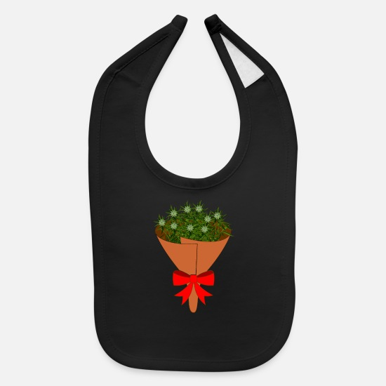 Birthday Baby Clothing - Marijuana Ganja Weed smoke pothead gift flower Pot - Baby Bib black