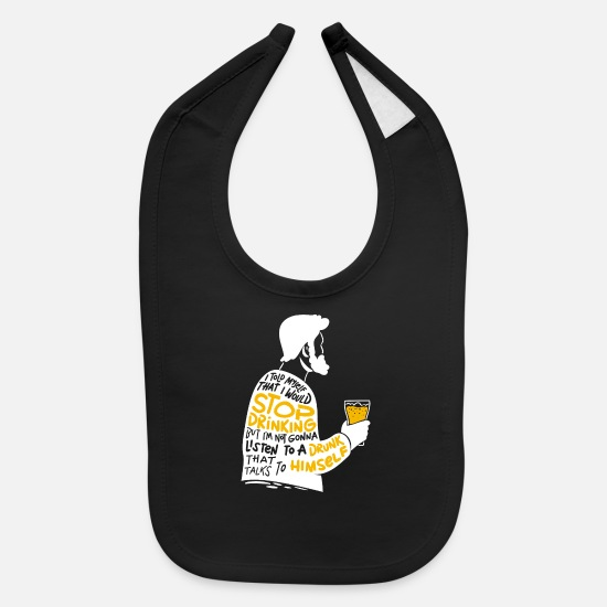 Alcohol Baby Clothing - beer beer beer sleep sleep sleep - Baby Bib black