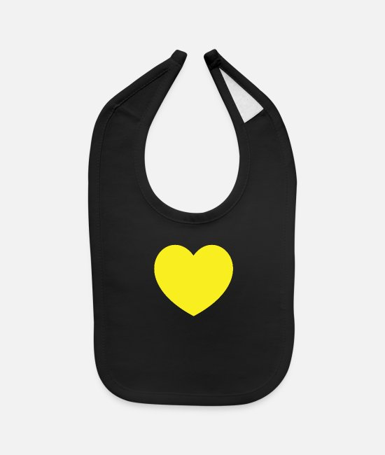 Heart Baby Clothing - Yellow Heart - Baby Bib black