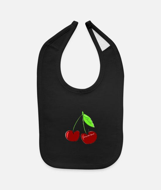 "Apparel Baby Bibs - ""Ramseys Cherries "" - Baby Bib black"