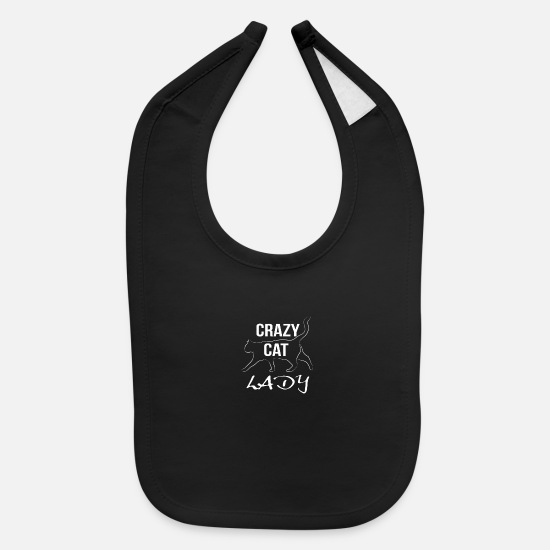 Love Baby Clothing - crazy cat lady white - Baby Bib black