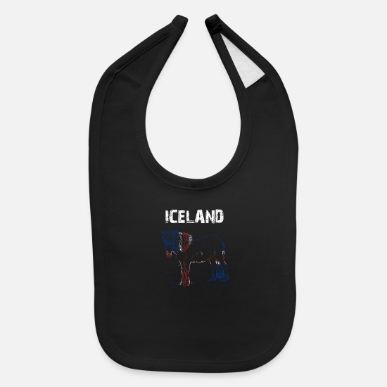 Iceland Baby Clothing - Nation-Design Iceland Iceland Horse HetZx - Baby Bib black
