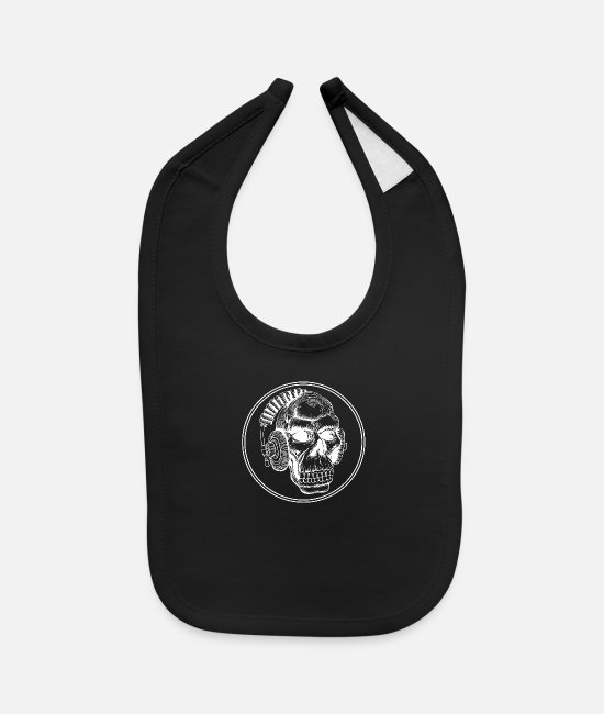 Father's Day Baby Bibs - Monkeys with headphones DJ birthday shirt - Baby Bib black