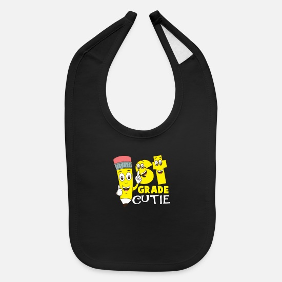 Elementary School Baby Clothing - 1st Grade Cutie First Grader Back To School T-Shir - Baby Bib black