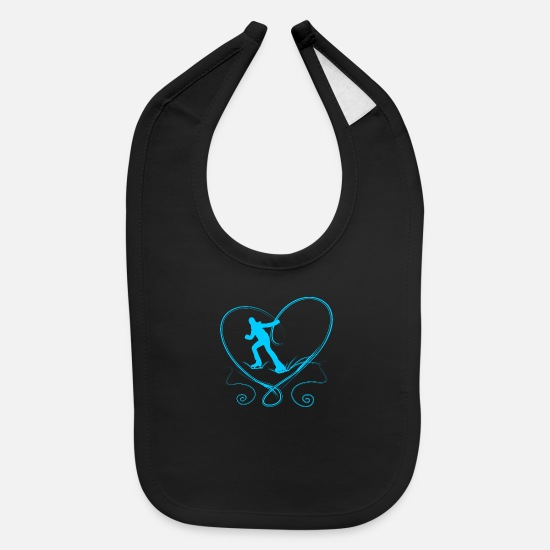 Lovely Baby Clothing - Ice skaters blue heart with scratches on ice - Baby Bib black