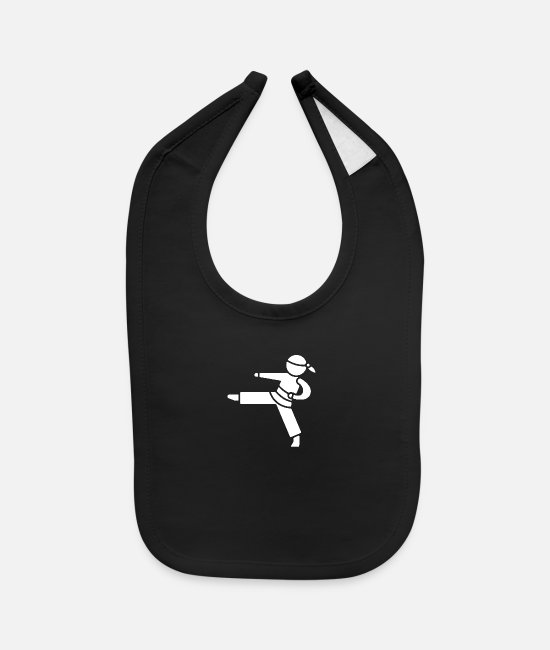 Martial Arts Baby Bibs - stick man - Baby Bib black