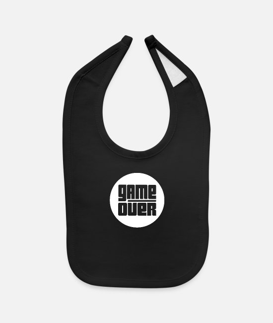 Play Baby Bibs - Game Over (White) - Baby Bib black
