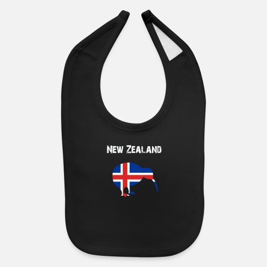 New Baby Clothing - Nation-Design New Zealand Kiwi 5BYK3 - Baby Bib black