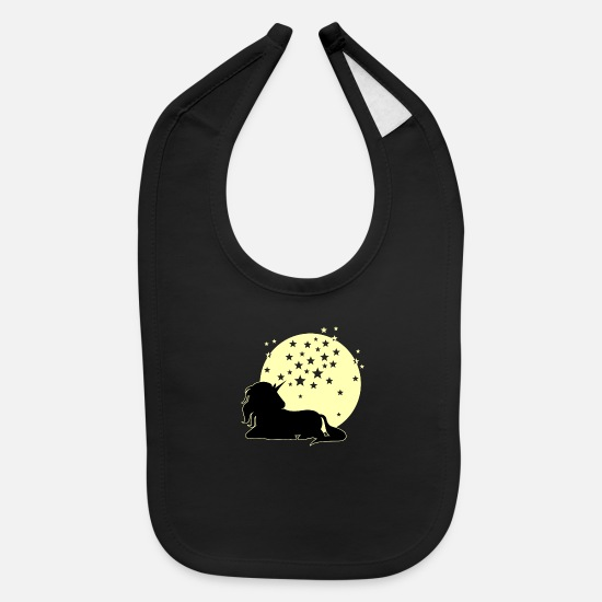 Stars Baby Clothing - Unicorn full moon & stars - Baby Bib black