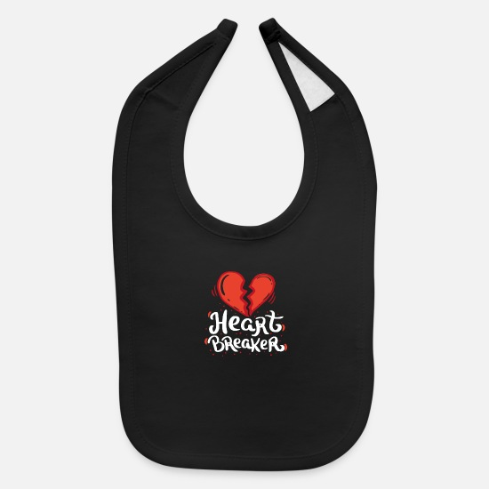 Valentine's Day Baby Clothing - VALENTINE'S DAY Heart Breaker - Baby Bib black