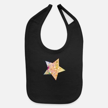 Asterisk small patchwork star in the night sky - Baby Bib