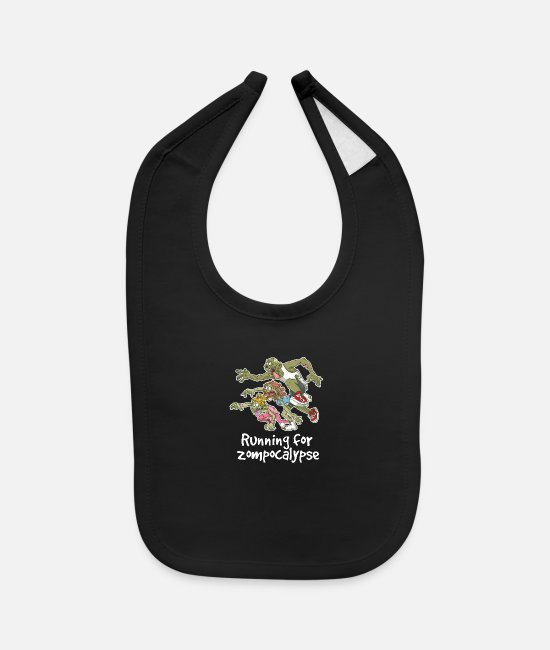 Zombie Apocalypse Baby Clothing - Running For Zombie Apocalypse Cool Undead Hunters - Baby Bib black