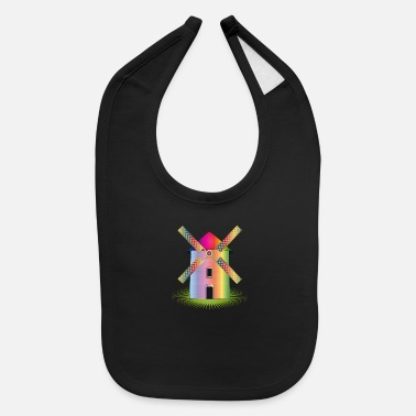 Dutch colorful fantasy windmill in shimmering colors - Baby Bib