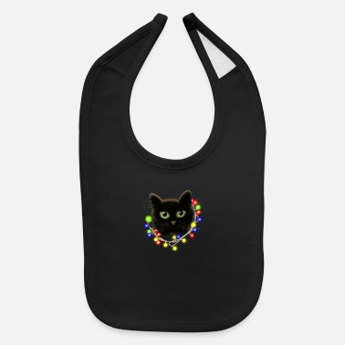 Black Light Black cat with green eyes with Christmas lights - Baby Bib