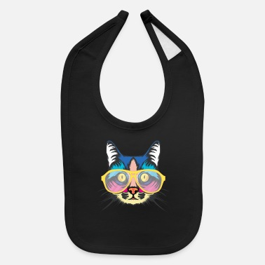 Stylish Hipster Cat Design.cat lover gift - Baby Bib