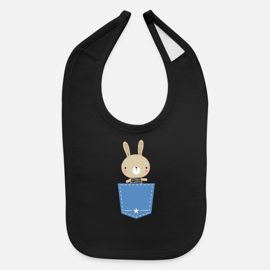 Bunny Baby Clothing - Bunny Rabbit Boys Pocket - Baby Bib black